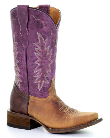 Youth Two Toned Western Boots - Purple