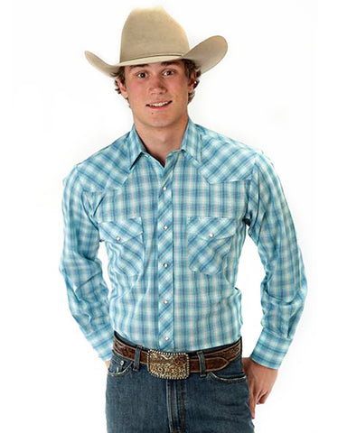 Men's Classic Long Sleeve Plaid Western Shirt - Aqua