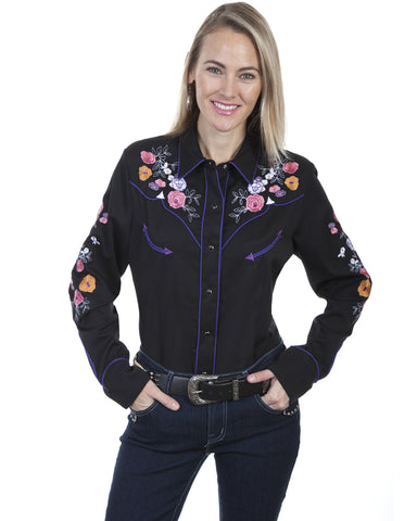 Womens Floral Snap Up Western Shirt