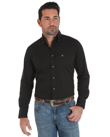 Men's Performance Long Sleeve Western Shirt - Black
