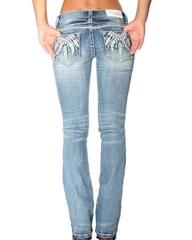 Womens Embellished Feathers Boot Cut Jeans