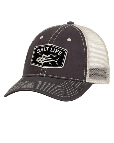 6bbe5f772 Salt Life Red White & Bluefin Mesh Ball Cap - Charcoal