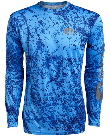 Mens Hexo Technical Long Sleeve T-Shirt - Blue
