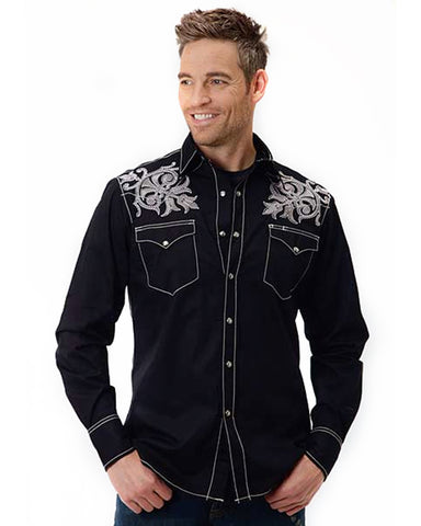 Men's Embroidered Performance Western Shirt - Black