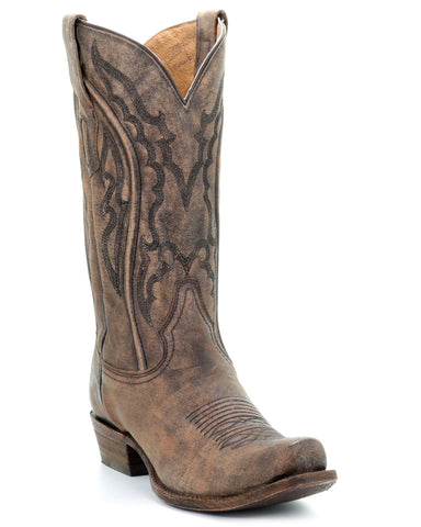 Men's Embroidered Distressed Boots