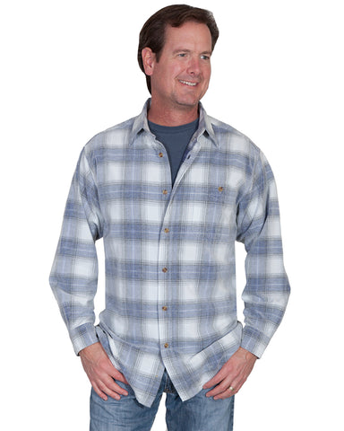 Mens Couduroy Plaid Western Shirt - Blue