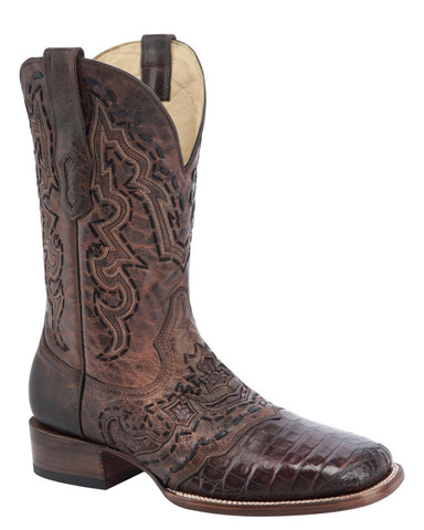 Mens Decorative Caiman Vamp Boots