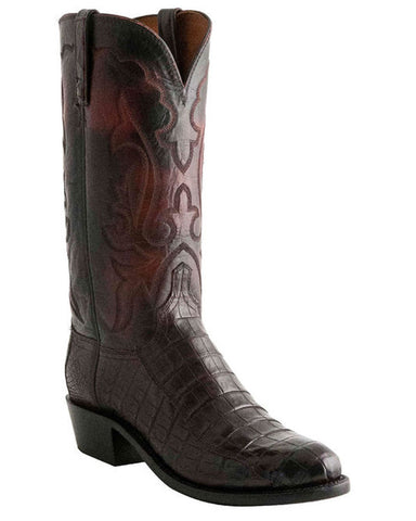 Mens Ultra Belly Caiman Boots - Black Cherry
