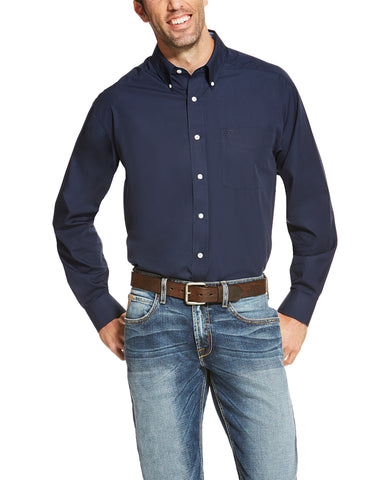 Mens WF Solid Long Sleeve Western Shirt - Navy