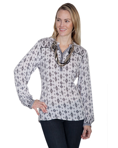 Womens Print Long Sleeve Blouse
