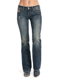 Women's Embroidered Riding Boot Cut Jeans