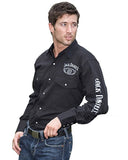 Mens Old No.7 Long Sleeve Western Shirt - Black