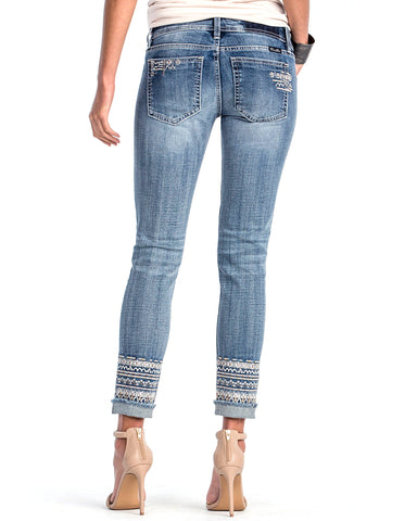 Women's Bohemian Beauty Ankle Skinny Jeans