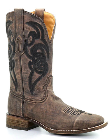 Men's Embroidered Boots - Brown