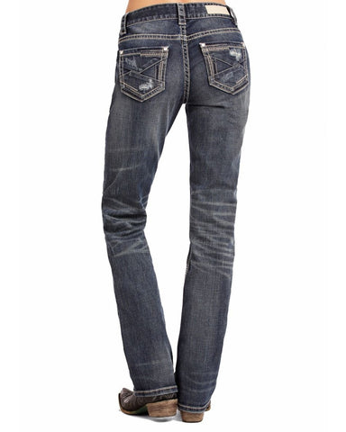 Womens Boyfriend Fit Embroidered Jeans