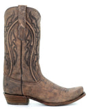 Mens Embroidered Distressed Boots