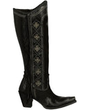 Womens Domingo Fringed Boots - Black