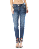 Womens Aztec Embroidered Skinny Jeans