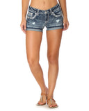 Womens Dark Wash Heavy Stitch Shorts