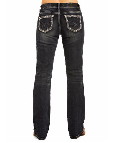 Womens Riding Embroidered Boot-Cut Jeans