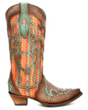 Womens Leather Overlay Embroidered Boots