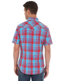 Mens Rock 47 Plaid Short Sleeve Western Shirt - Blue