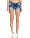 Womens Floral Embroidered Frayed Hem Shorts