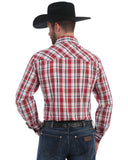 Men's Fashion Plaid Long Sleeve Western Shirt - Red / Black