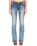 Women's Winged Faux Flap Boot Cut Jeans