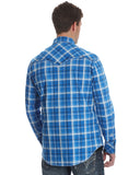 Mens Rock 47 Plaid Long Sleeve Western Shirt - Blue