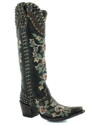 Womens Almost Famous Embroidered Boots - Black