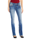 Womens Mid-Rise Slim Boot Cut Jeans