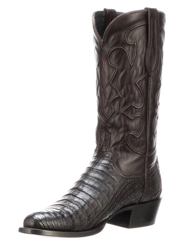 4cd64f6b502 Lucchese Mens Charles Caiman Crocodile Belly Boots - Black Cherry
