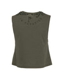 Women's Escape Crop Muscle T-Shirt - Olive