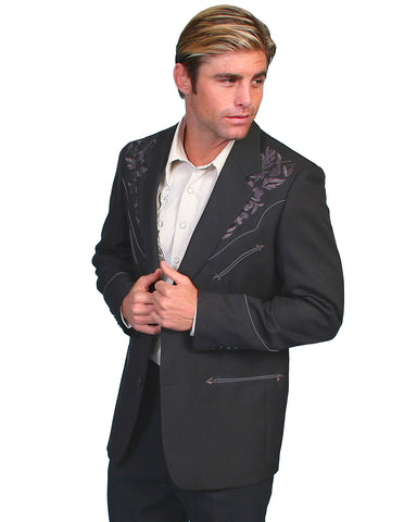 Men's Floral Embroidery Western Jacket