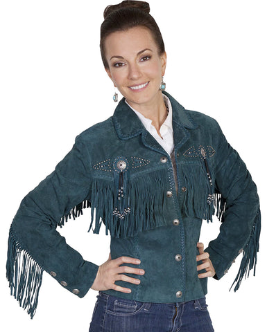 Womens Boar Suede Fringe Jacket - Teal