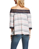 Womens Toni 3/4 Sleeve Striped Blouse