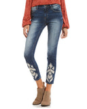 Womens Ankle Skinny Stretch Embroidered Jeans