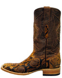 Mens Brandy Square Toe Python Boots