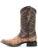 Men's Laced Leather Ostrich Boots