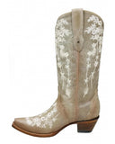 Women's Embroidered Boots - Bone