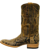 Mens Square Toe Antique Python Boots