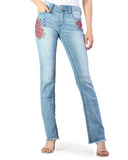 Women's Easy Fit Red Floral Cut Jean