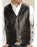 Mens Lambskin Western Vest - Brown