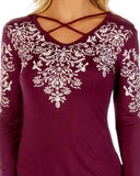 Women's Floral Filigree Long Sleeve Blouse