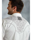 Mens Embroidered Performance Western Shirt - White