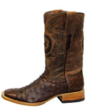 Men's Brandy Square Toe Ostrich Boots