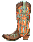 Women's Leather Overlay Embroidered Boots