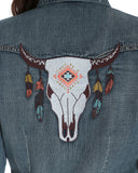 Women's Steer Skull Denim Western Shirt