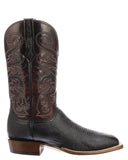 Mens Lance Smooth Ostrich Boots - Black Cherry
